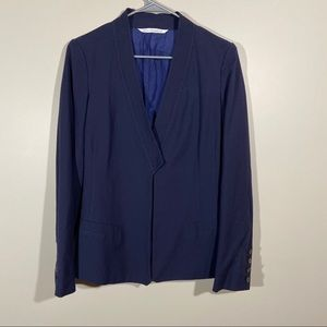 Diane Von Furstenberg One Button Navy Blue Blazer
